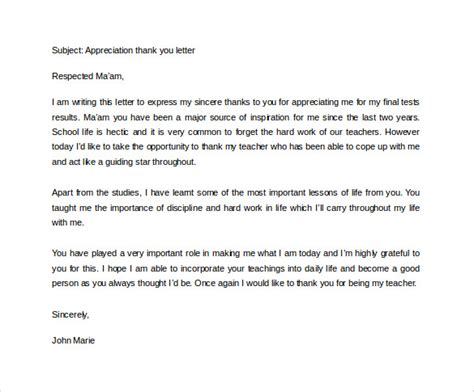 appreciation letter for instructor thank you letter to 11 free documents