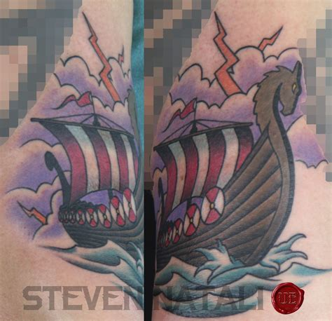 traditional viking tattoos custom traditional viking ship by steven natali at