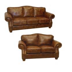 brandon distressed whiskey italian leather sofa and
