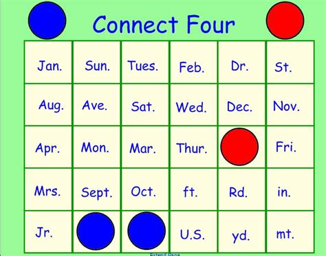 connect four template grammar smartboard files and templates from the s