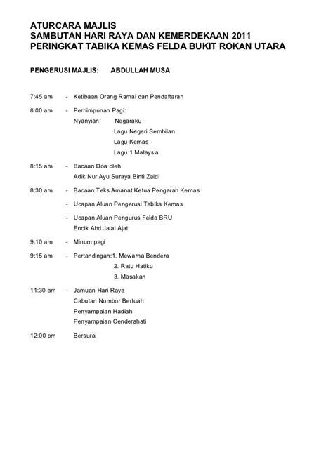 teks pengacara majlis sambutan hari raya tabika kemas fbru 2011 a4