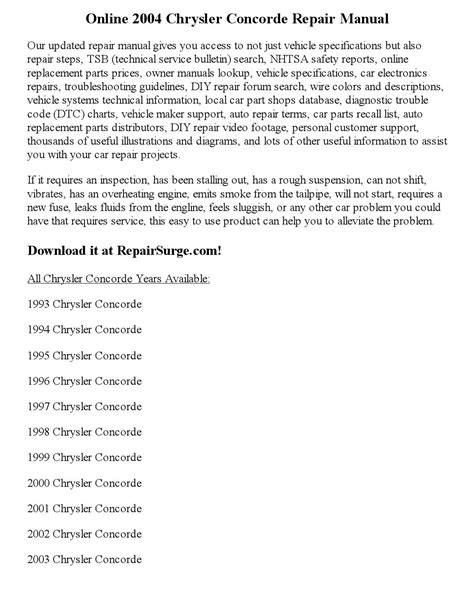 2004 Chrysler Concorde Repair Manual Online By Kim