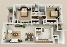 10 Awesome Two Bedroom Apartment 3d Floor Plans - 10 awesome two bedroom apartment 3d floor plans bedroom
