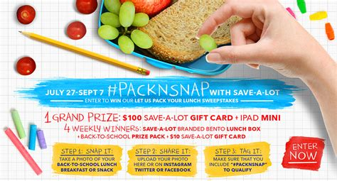 Sweepstakes Ad - creative lunch ideas for picky eaters save a lot gift card giveaway