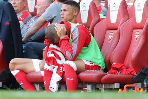soccer player bench quot i m a bournemouth player now in my head quot says arsenal