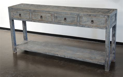 Reclaimed Wood Painted Console Table With Drawers