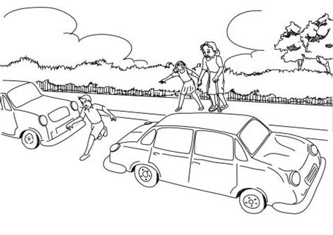 road safety coloring pages sketch coloring page