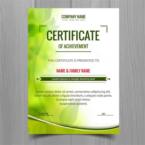 Free Vector Certificate Templates by Green Shiny Certificate Template Vector Free