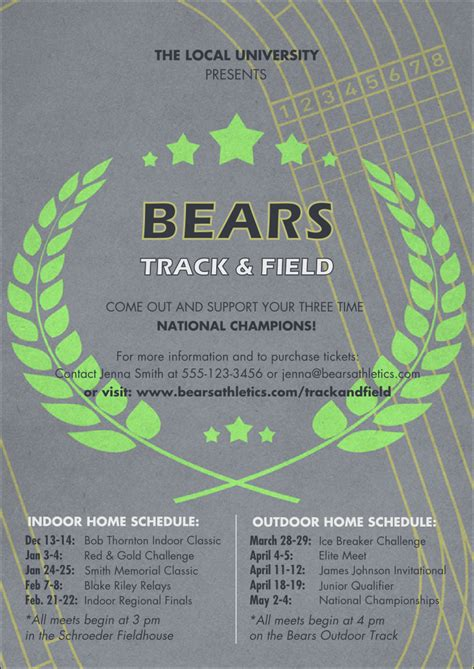 track meet relay card template track and field club flyer