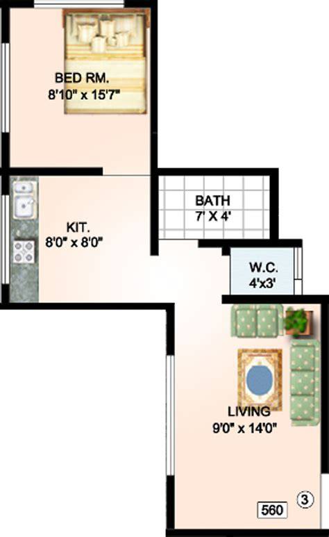 560 sq ft 560 sq ft 1 bhk 1t apartment for sale in tisai krupa
