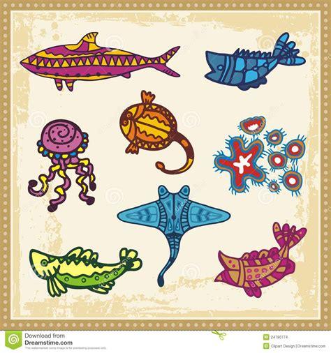 sea animals in australian aboriginal style stock vector