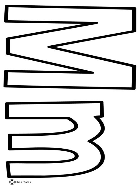 letter m template wall letters quot m quot pinterest
