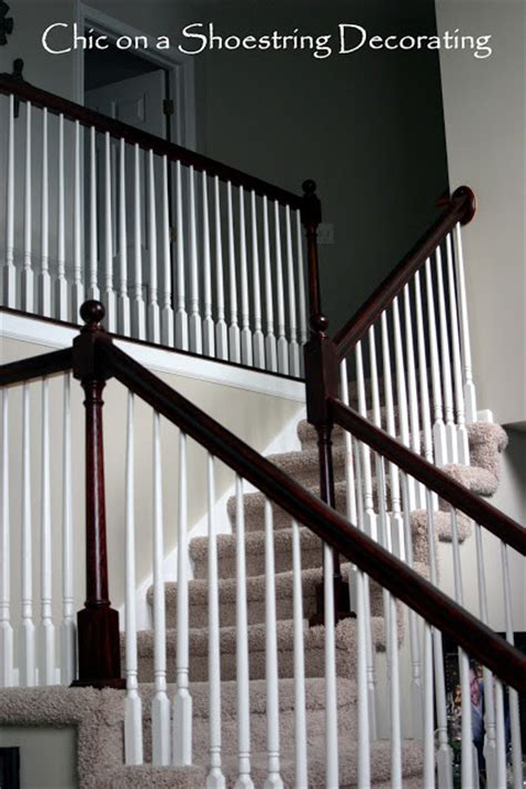 Staining Banister by Chic On A Shoestring Decorating How To Stain Stair
