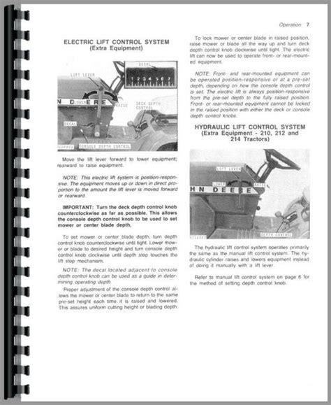 deere 214 lawn garden tractor operators manual