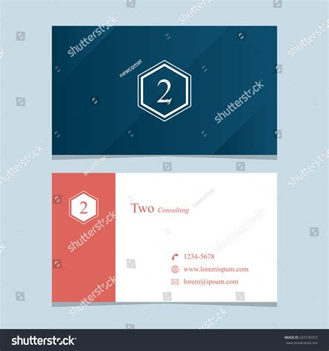 business card template with watermark logo number 2 business card template stock vector