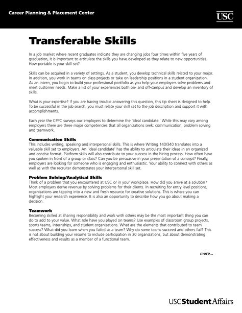 Cover Letter Skills List by Transferable Skills Cover Letter Exle Sle Guamreview