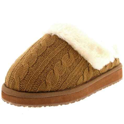 10 Slippers For The Winter by Womens Knitted Cardy Classic Fur Lined Warm Slip On Winter