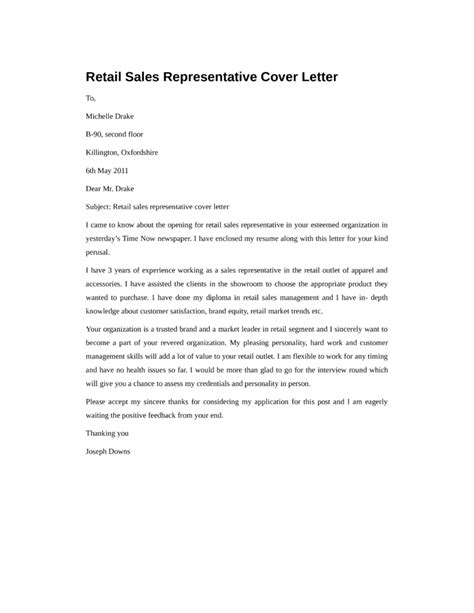 Basic Sle Cover Letter by Basic Retail Sales Representative Cover Letter Sles And Templates