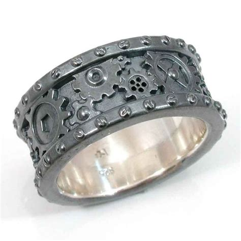 steunk black silver gear ring steam wedding ring
