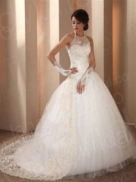 ball gown wedding dress with glovescherry