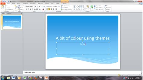 add some colour to your presentation with themes in