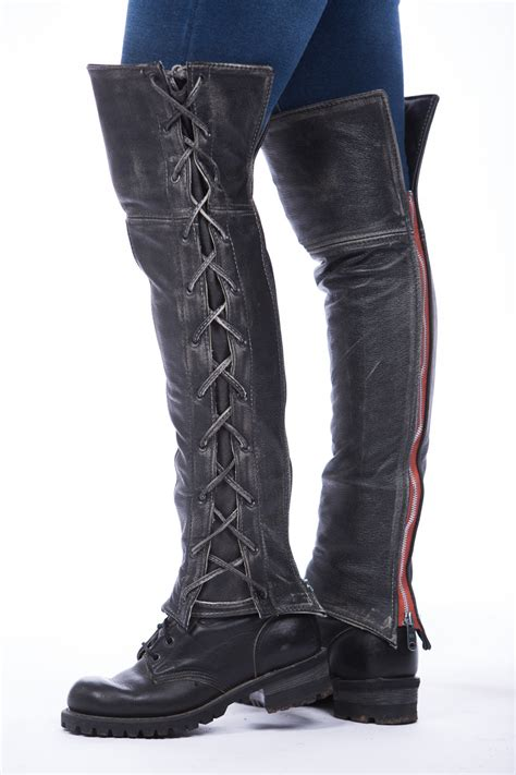 motorcycle half boots distressed laced half chaps lissa hill leather