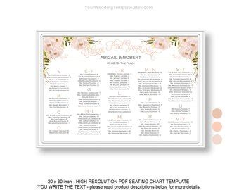 Peach And Beige Etsy Wedding Seating Chart Poster Template Free