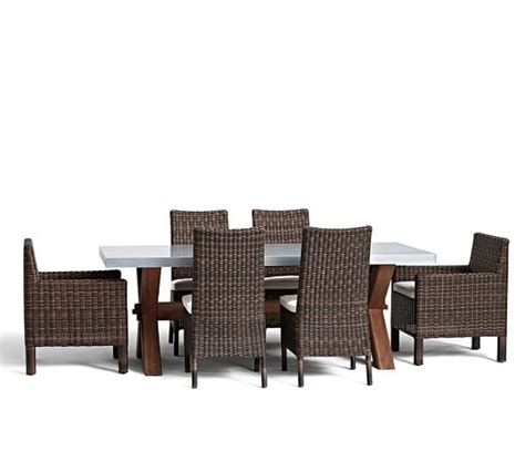 Abbott Zinc Top Dining Table Abbott Zinc Top Rectangular Fixed Dining Table Torrey Chair Set Espresso Pottery Barn