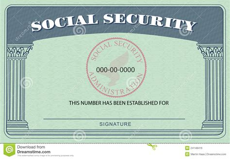 social securty card template social security card stock illustration illustration of