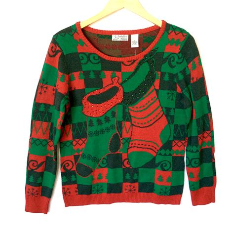 red green checkerboard christmas stockings ugly sweater