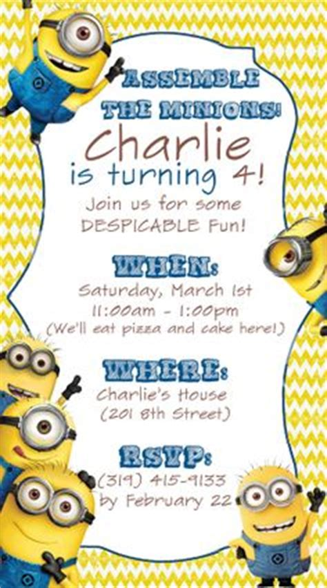invite christmas minion confetti and glitter card invitation wording minion birthday invitations