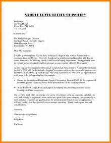 Email Cover Letter Inquiry 8 Inquiry Letter For Resume Sections