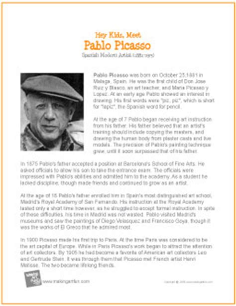 biography information for students pablo picasso printable biography for kids pablo