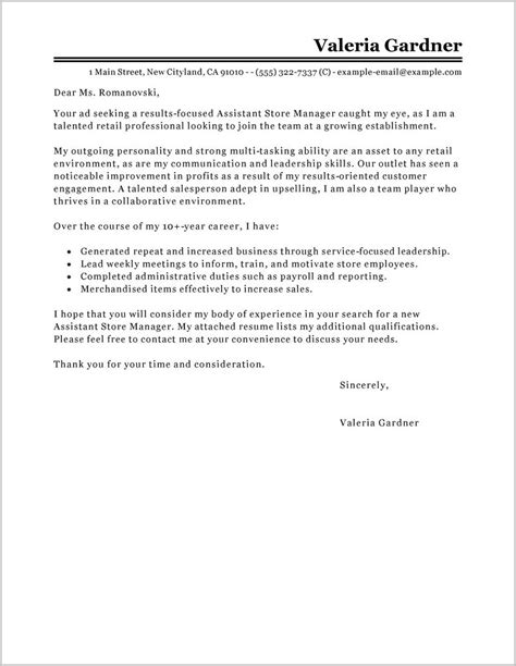 free sle cover letter for retail manager cover letter