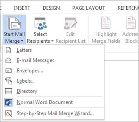 mail merge using an excel spreadsheet word