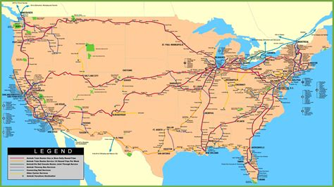 railway map of usa usa railway map