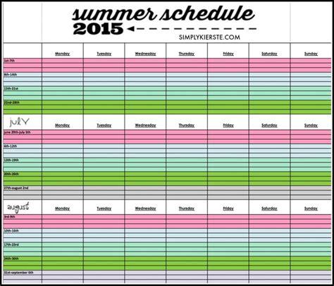 printable calendar 2015 schedule printable summer schedule 2015 simplykierste com