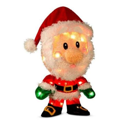 18 quot lighted pre lit 3d tinsel santa claus outdoor