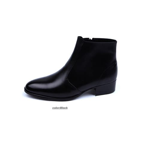 mens real leather plain toe side zip closure black ankle boots