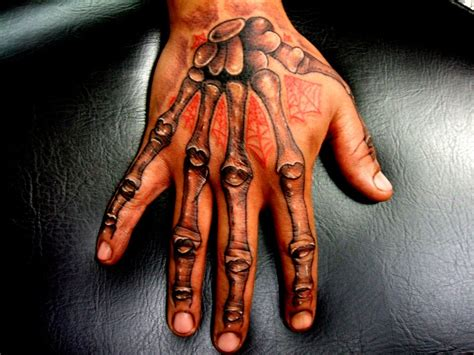skeleton hand tattoos colorful on both finger