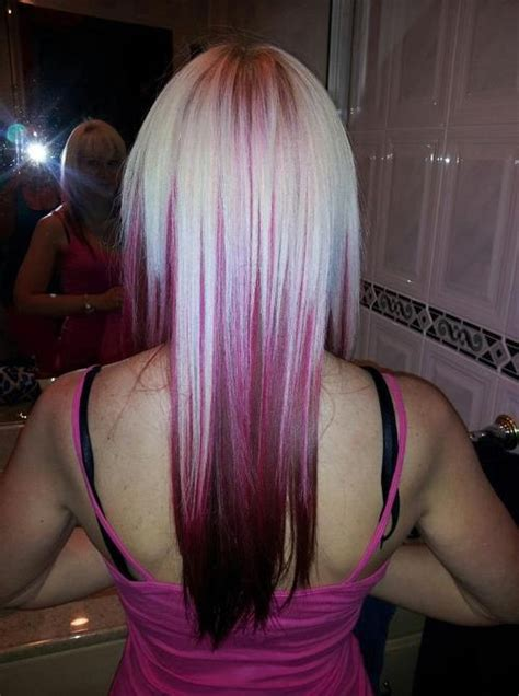 blonde and burgundy hairstyles blonde hairstyles with burgundy underneath