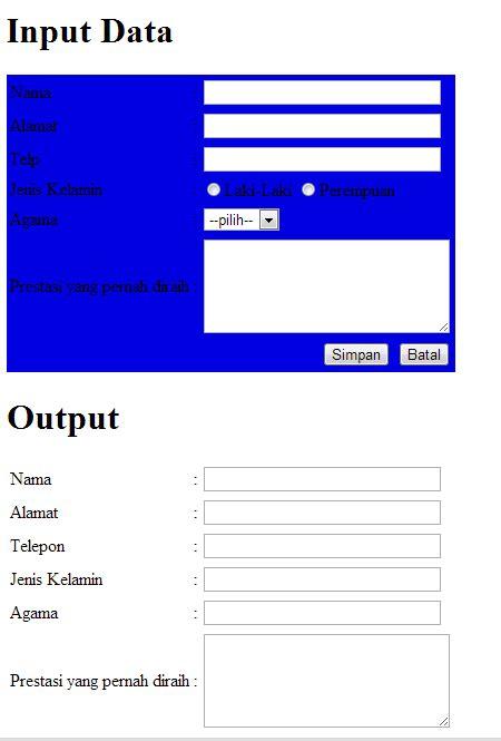 script html membuat form pendaftaran contoh sintaks html pembuatan form pendaftaran