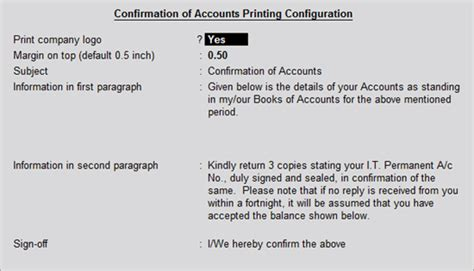 Confirmation Letter In Tally Configuring And Printing Confirmation Statements