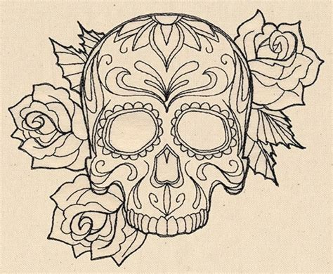 sugar skull and rose tattoos black outline gangster sugar skull with roses