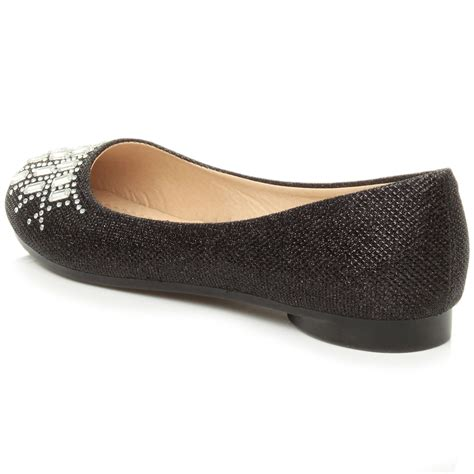 dolly shoes womens flat low heel diamante glitter ballerina