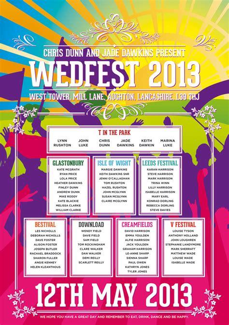 theme names for college fest festival themed wedding seating plans wedfest