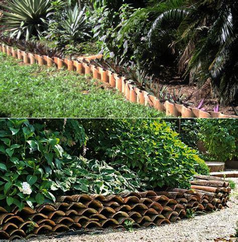 Garten Gestalten Mit Dachziegeln garten gestalten mit kreativer rasenkante und
