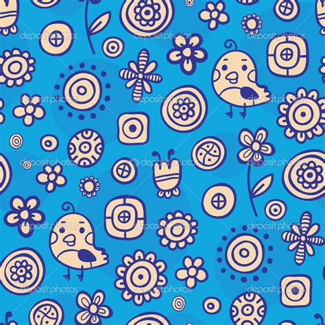 pattern cute blue blue pattern with cute birds and small flowers stock