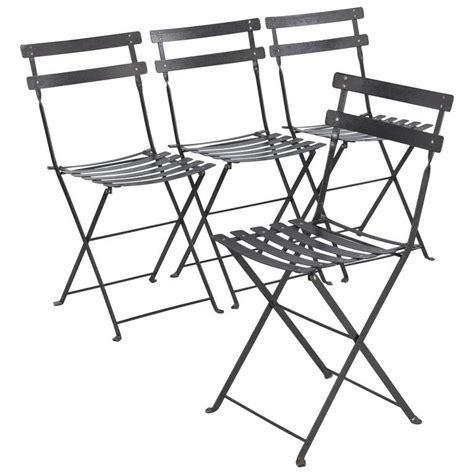 Metal Folding Bistro Chairs Set Of Four Folding Bistro Metal Side Chairs By Fermob Late 1900s At 1stdibs