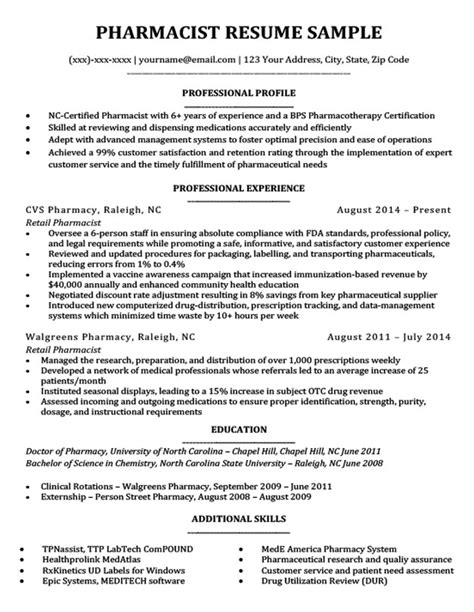 Pharmacist Resume Format by Pharmacist Resume Sle Writing Tips Resume Companion